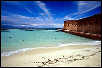 Beach and Fort Jefferson. Dry Tortugas National Park, Florida, USA.