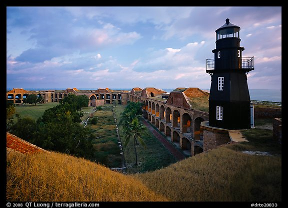 Fort Jefferson lighthouse, dawn. Dry Tortugas National Park, Florida, USA.