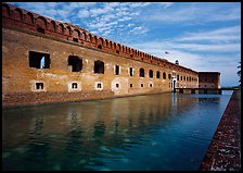 Fort Jefferson moat, walls and lighthouse. Dry Tortugas National Park, Florida, USA. (color)