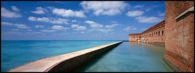 Moat and Fort Jefferson brick wall. Dry Tortugas  National Park (Panoramic color)