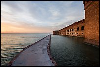 Fort Jefferson moat and walls at sunset. Dry Tortugas National Park, Florida, USA. (color)