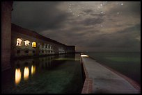 Fort Jefferson, moat, and ocean at night. Dry Tortugas National Park, Florida, USA. (color)