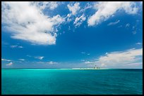 Turquoise ocean waters and Loggerhead key. Dry Tortugas National Park, Florida, USA. (color)