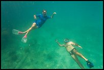 Couple free diving. Dry Tortugas National Park, Florida, USA. (color)