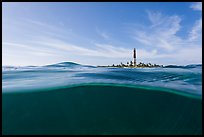 Split view of waters and Loggerhead Light. Dry Tortugas National Park, Florida, USA. (color)