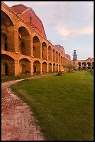Inside Fort Jefferson at sunset. Dry Tortugas National Park, Florida, USA. (color)