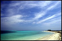 Sky, turquoise waters and beach on Bush Key. Dry Tortugas National Park ( color)