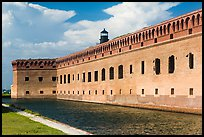 Moat, wall, and Harbor Light. Dry Tortugas National Park, Florida, USA.