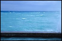 Seawall battered by surf on a stormy day. Dry Tortugas National Park, Florida, USA.