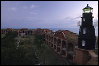 Fort Jefferson lighthouse and inner courtyard, dawn. Dry Tortugas National Park, Florida, USA. (color)