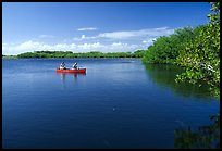 Canoists fishing. Everglades National Park, Florida, USA. (color)