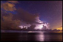 Lightening over Florida Bay seen from the Keys at night. Everglades National Park ( color)