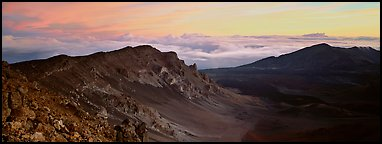 Crater and sea of clouds at sunrise. Haleakala National Park (Panoramic color)