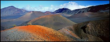 Volcanic scenery with colorful ash inside Haleakala crater. Haleakala National Park (Panoramic color)