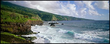 Coastline with volcanic cliffs and strong surf. Haleakala National Park (Panoramic color)