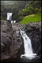 Waterfalls and bridge,  Seven Sacred Pools, Kipaluhu. Haleakala National Park, Hawaii, USA. (color)