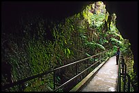Thurston lava tube seen from inside. Hawaii Volcanoes National Park, Hawaii, USA.