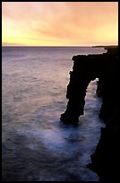 Holei sea arch at sunset. Hawaii Volcanoes National Park, Hawaii, USA.