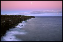 Holei Pali cliffs and moon at dusk. Hawaii Volcanoes National Park, Hawaii, USA. (color)