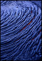 Circular ripples of flowing pahoehoe lava. Hawaii Volcanoes National Park, Hawaii, USA. (color)