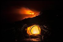 Tent and lava ocean entry. Hawaii Volcanoes National Park, Hawaii, USA. (color)