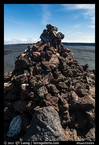 Mauna Loa summit cairn festoned with ritual offerings. Hawaii Volcanoes National Park, Hawaii, USA.
