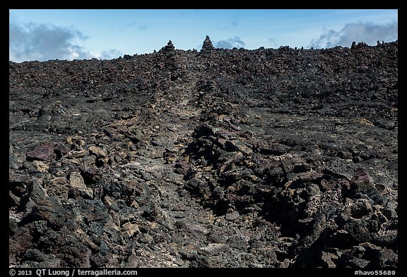 Well marked portion of Mauna Loa summit trail. Hawaii Volcanoes National Park (color)
