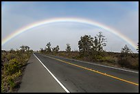 Rainbow over highway. Hawaii Volcanoes National Park ( color)