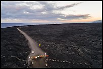 Aerial view of park boundary and emergency road. Hawaii Volcanoes National Park ( color)