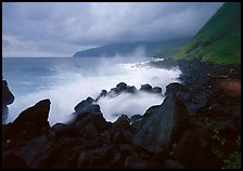 Stormy ocean and balsalt boulders, Siu Point, Tau Island. National Park of American Samoa