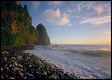 Beach with pebbles and Pola Island, early morning, Tutuila Island. National Park of American Samoa (color)