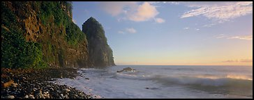 Coastline with tall seacliff, early morning, Tutuila Island. National Park of American Samoa (Panoramic color)