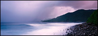 Seascape with storm clouds and foamy ocean, Tutuila Island. National Park of American Samoa (Panoramic color)