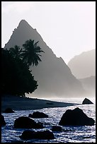Sunuitao Peak from the South Beach, early morning, Ofu Island. National Park of American Samoa