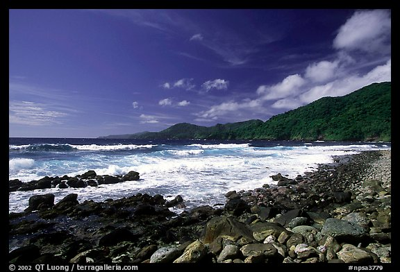 Peeble beach and Vatia Bay, mid-day, Tutuila Island. National Park of American Samoa