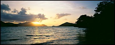 Sun rising across bay. Virgin Islands National Park (Panoramic color)