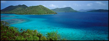Tropical turquoise waters and green hills. Virgin Islands National Park (Panoramic color)