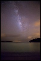 Milky Way and stars over Little Lameshur Bay. Virgin Islands National Park ( color)
