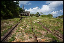 Rails and chain leading to Creque Marine Railway power house, Hassel Island. Virgin Islands National Park ( color)