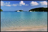 Beach and yachts, Maho Bay. Virgin Islands National Park, US Virgin Islands. (color)