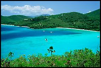 Turquoise waters in Francis Bay with anchored yacht. Virgin Islands National Park, US Virgin Islands.