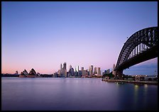 Harbor Bridge, skyline, and Opera House, dawn. Sydney, New South Wales, Australia (color)