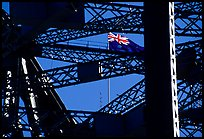 Harbour bridge detail with Australian flag. Sydney, New South Wales, Australia (color)