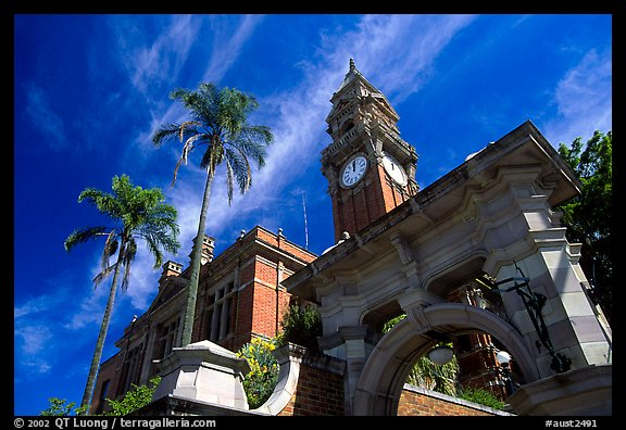 South Brisbane Town Hall, a red brick building with an ornate clock tower and archway. Brisbane, Queensland, Australia