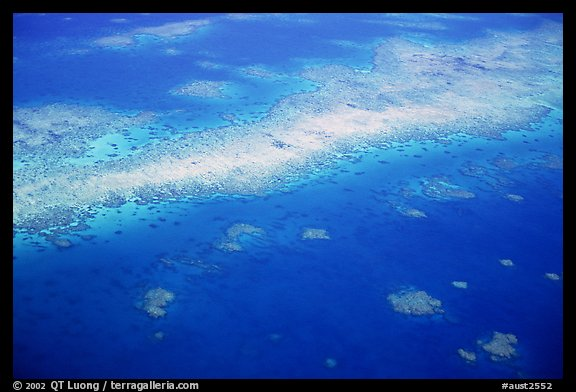 Aerial view of a sand bar and reef near Cairns. The Great Barrier Reef, Queensland, Australia