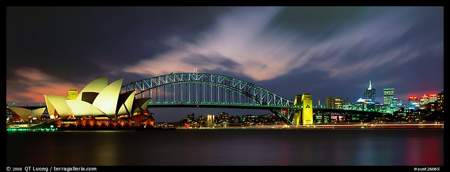 Sydney night view of opera house and Harbor Bridge. Sydney, New South Wales, Australia