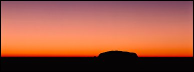Ayers rock and dawn sky. Uluru-Kata Tjuta National Park, Northern Territories, Australia (Panoramic color)