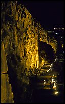 Rock climbing on the banks of the Brisbane River at night. Brisbane, Queensland, Australia ( color)
