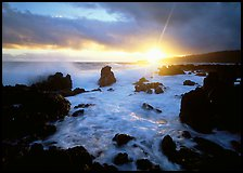 Sun and surf over rugged rocks, Kenae Peninsula. Hawaii, USA ( color)