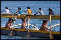Outriggers canoes during late afternoon practice, Maunalua Bay. Oahu island, Hawaii, USA ( color)